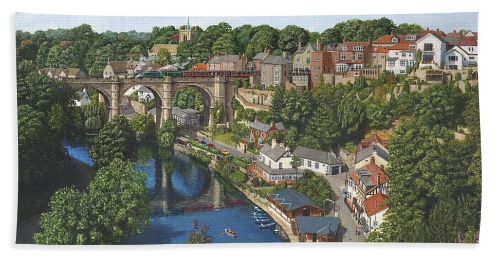 Landscape Bath Towel featuring the painting Knaresborough Yorkshire by Richard Harpum