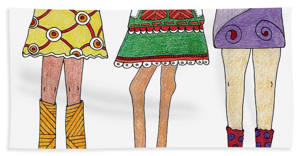 Legs Hand Towel featuring the drawing Kneedy Friends by Cindy Angiel