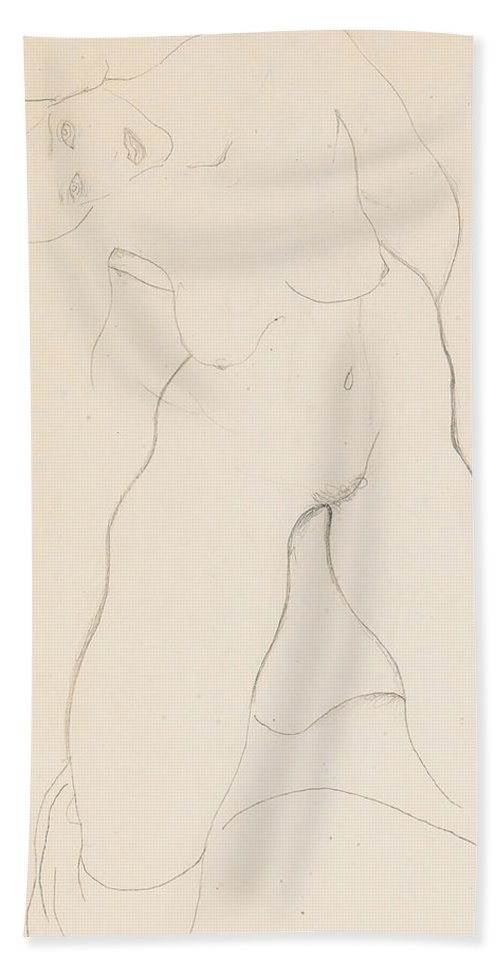 Egon Schiele Bath Sheet featuring the drawing Kneeling Female Nude by Egon Schiele
