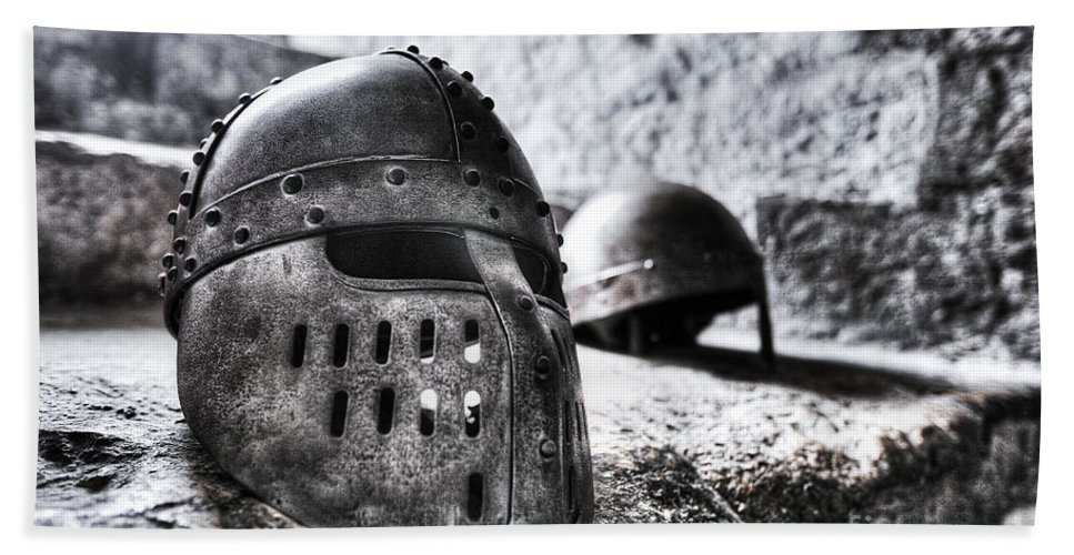 Knights Hand Towel featuring the photograph Knight Helmet by Traci Law
