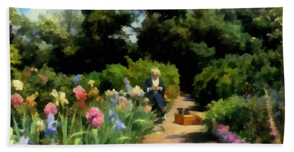 Knitting In The Garden Bath Sheet featuring the digital art Knitting In The Garden by Peder Mork Monsted