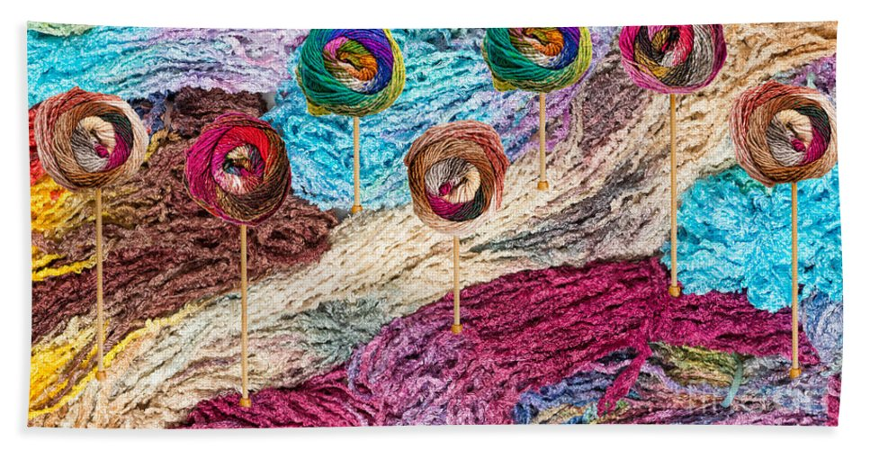 Colors Hand Towel featuring the photograph Knitting Lane by Les Palenik