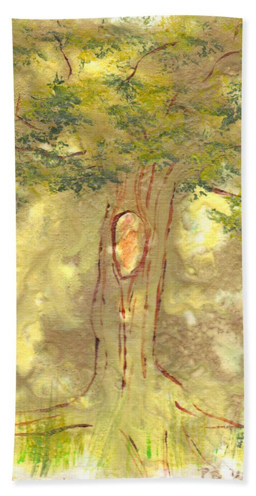 Tree Hand Towel featuring the painting Knot by Paulette B Wright