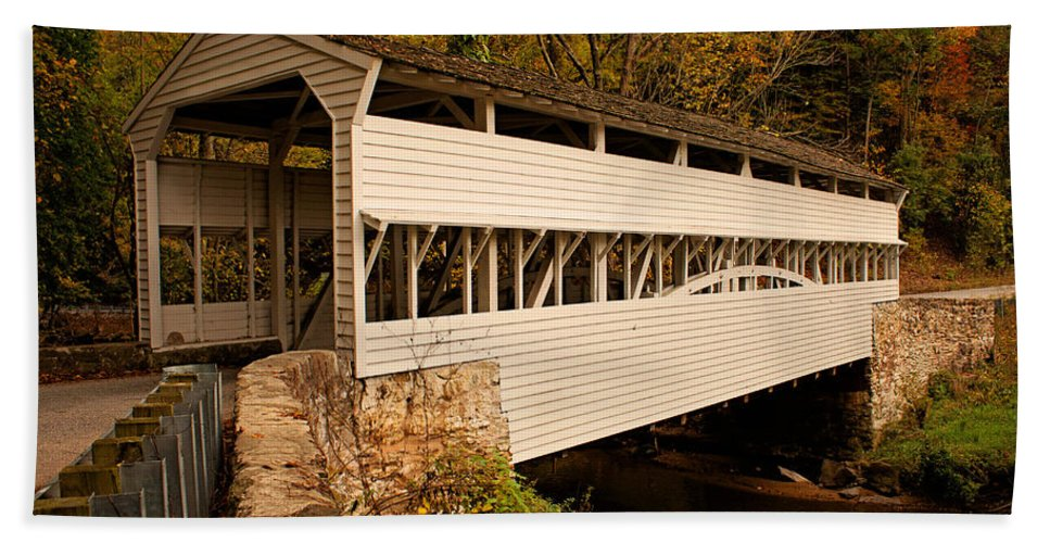 Knox Bridge Hand Towel featuring the photograph Knox Bridge In Autumn by Michael Porchik
