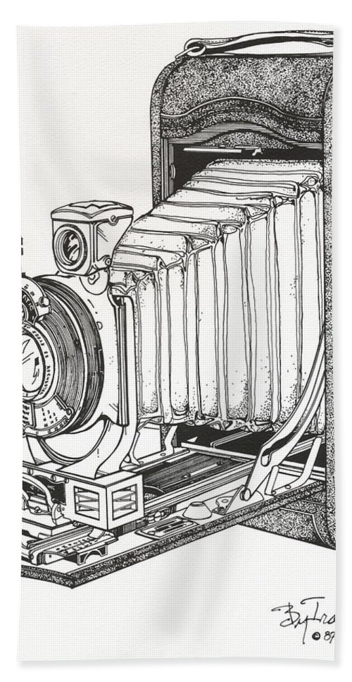Kodak Bath Sheet featuring the drawing Kodak 3a Autographic by Ira Shander