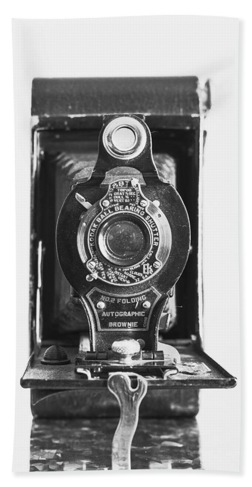 Kodak Hand Towel featuring the photograph Kodak No. 2 Folding Autographic Brownie Camera by Jon Woodhams