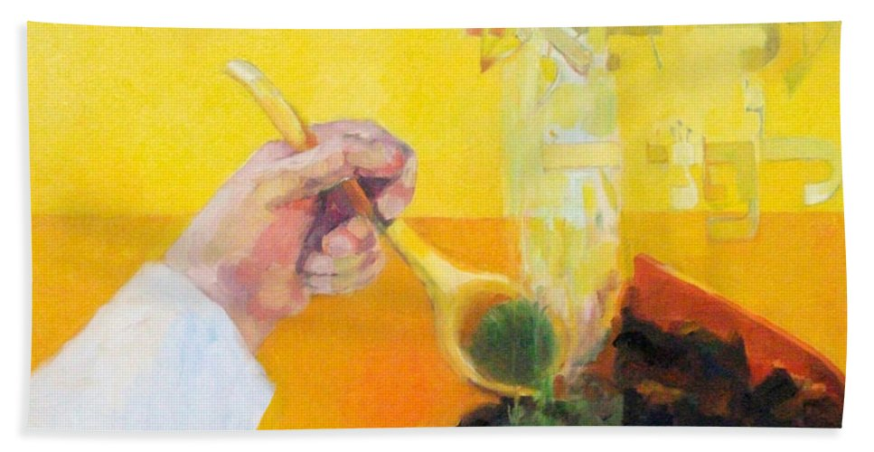 Bath Sheet featuring the painting Kohen Gadol On Yom Kippur by David Baruch Wolk
