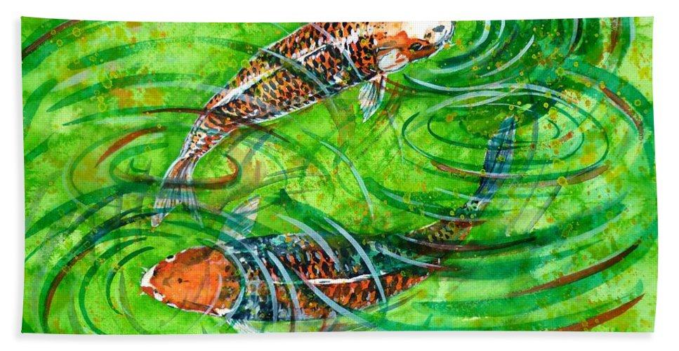 Koi Bath Sheet featuring the painting Koi Carps by Zaira Dzhaubaeva