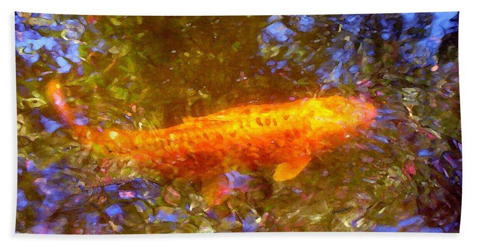 Animal Bath Sheet featuring the painting Koi Fish 2 by Amy Vangsgard