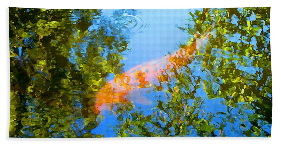 Animal Bath Towel featuring the painting Koi Fish 3 by Amy Vangsgard