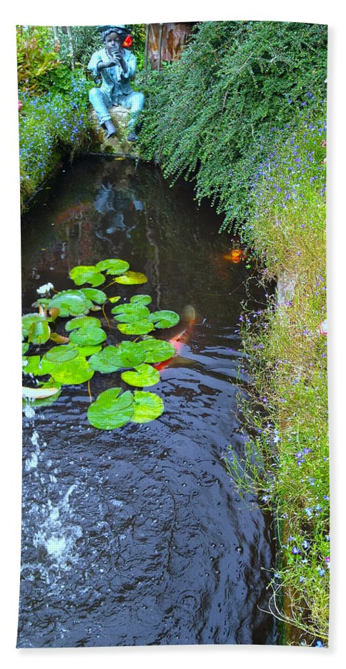 Photograph Hand Towel featuring the photograph Koi Fountain by Nicole Parks