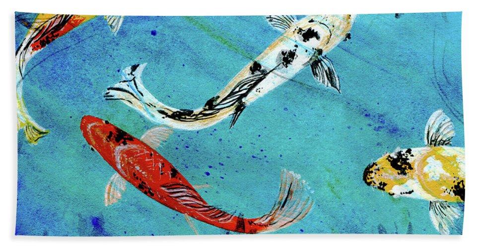 Koi Bath Sheet featuring the painting Koi by Lizi Beard-Ward