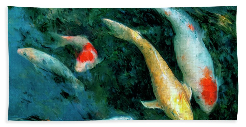 Koi Hand Towel featuring the painting Koi Pond 2 by Dominic Piperata