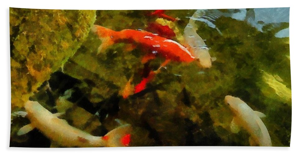 Pond Bath Sheet featuring the photograph Koi Pond by Michelle Calkins