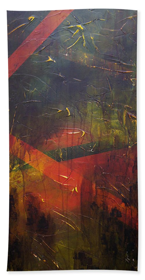 Abstract Bath Sheet featuring the painting Komposition z by Sergey Bezhinets