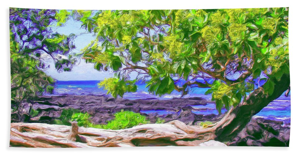 Hawaii Bath Sheet featuring the painting Kona Coast by Dominic Piperata