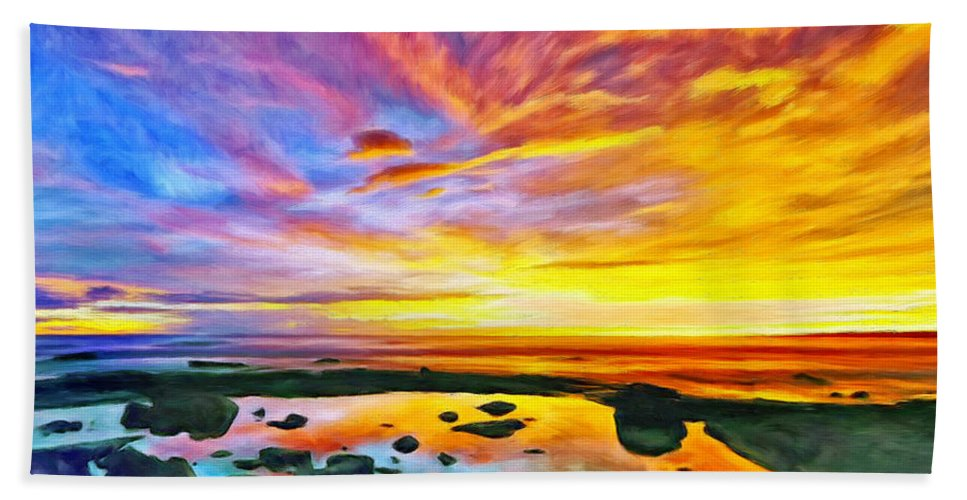 Tidepool Hand Towel featuring the painting Kona Tidepool Reflections by Dominic Piperata