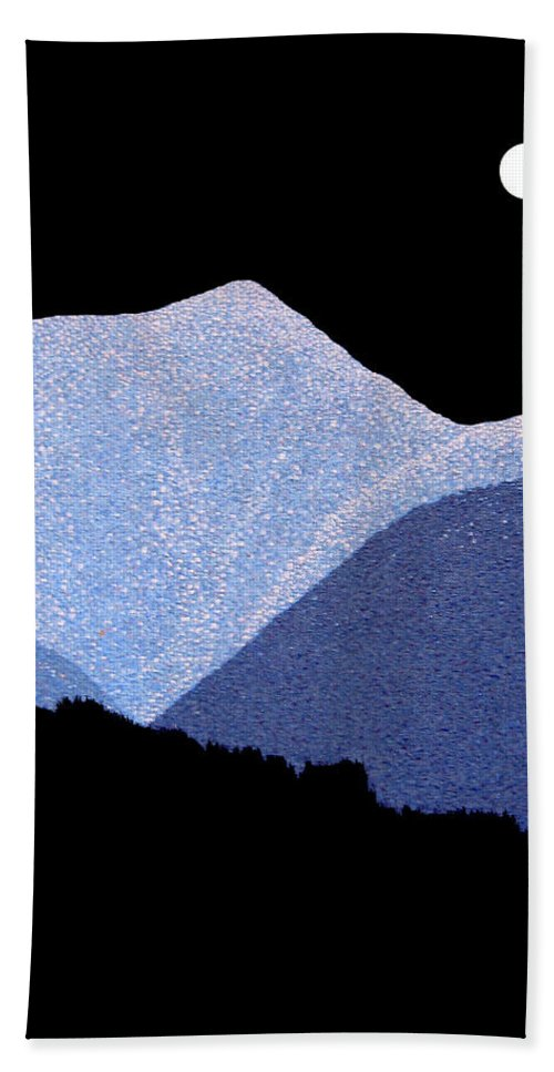 full Moon Hand Towel featuring the painting Kootenay Mountains by Janice Dunbar