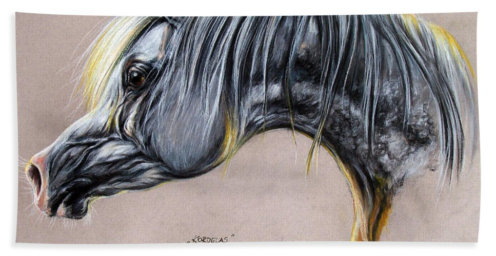Horse Bath Sheet featuring the pastel Kordelas Polish Arabian Horse Soft Pastel by Angel Ciesniarska