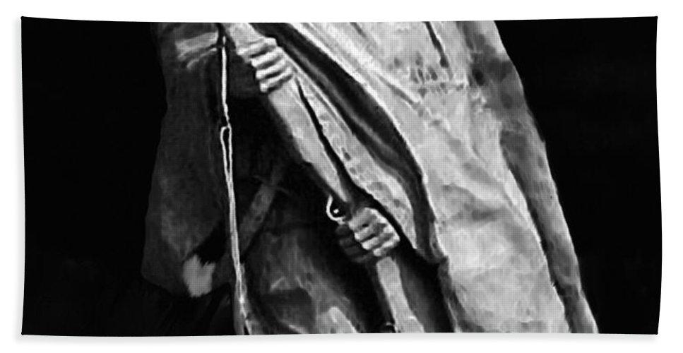 Army Bath Sheet featuring the painting Korean War Veterans Memorial Rifleman by Bob and Nadine Johnston