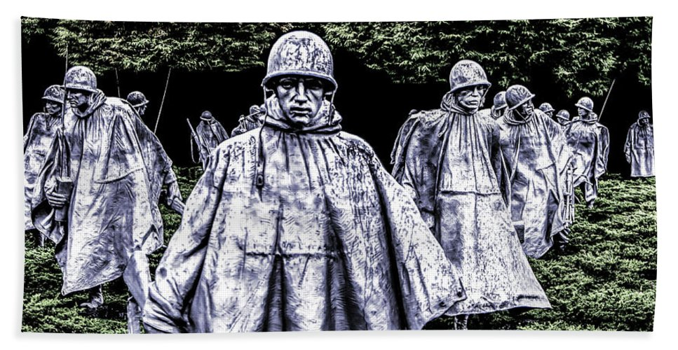 Memorial Bath Sheet featuring the photograph Korean War Veterans Memorial Washington by Alex Hiemstra