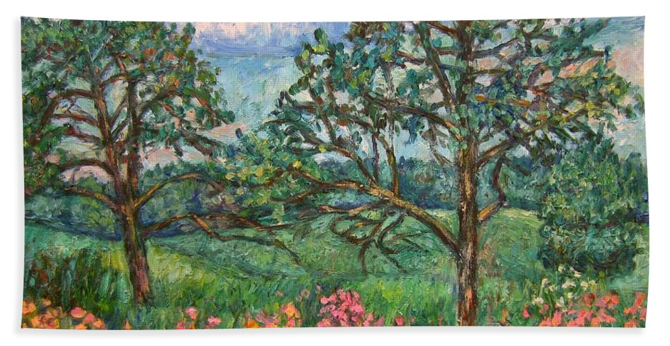 Landscape Hand Towel featuring the painting Kraft Avenue In Blacksburg by Kendall Kessler
