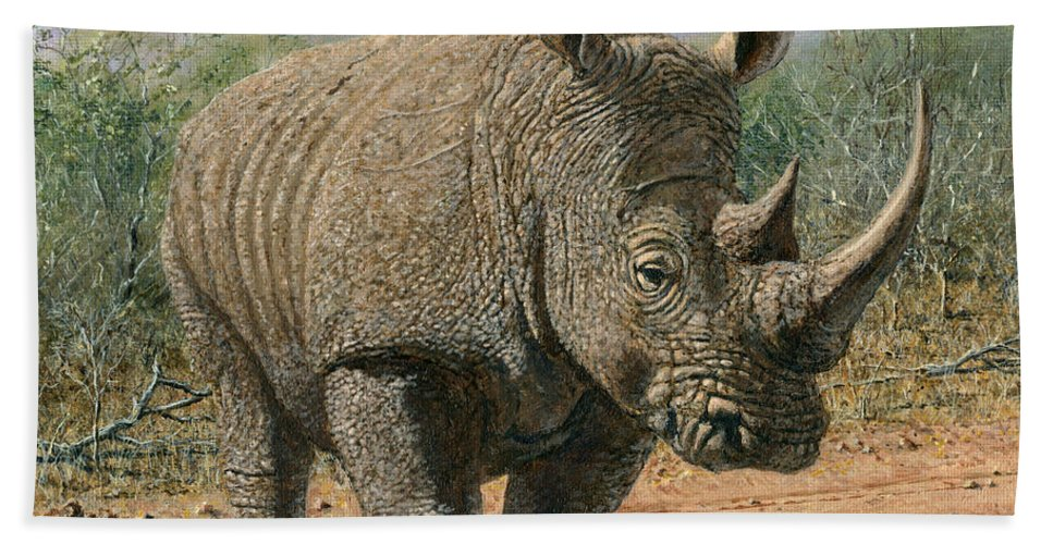 Wildlife Bath Sheet featuring the painting Kruger White Rhino by Richard Harpum