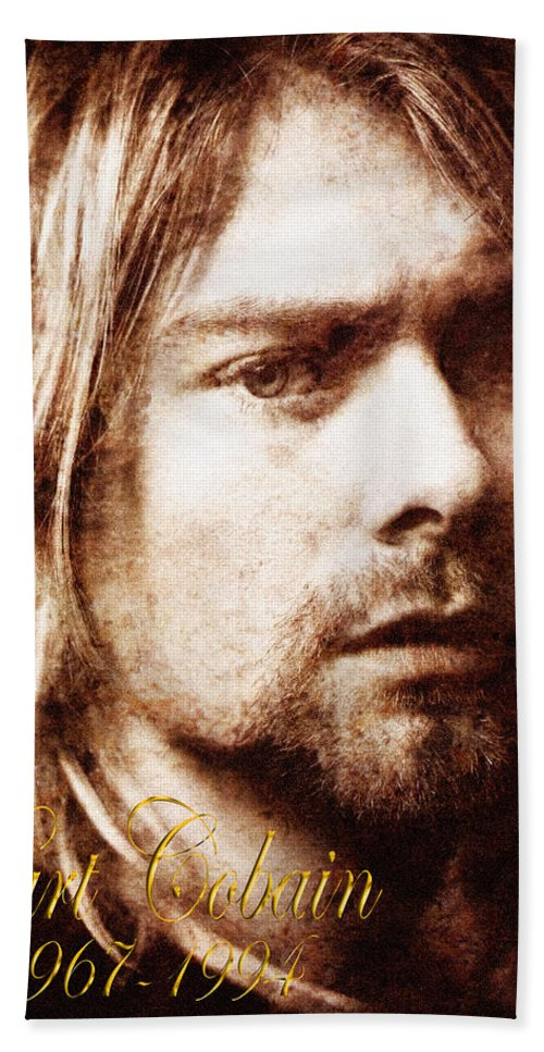 Cobain Hand Towel featuring the photograph Kurt Cobain by Andrew Fare