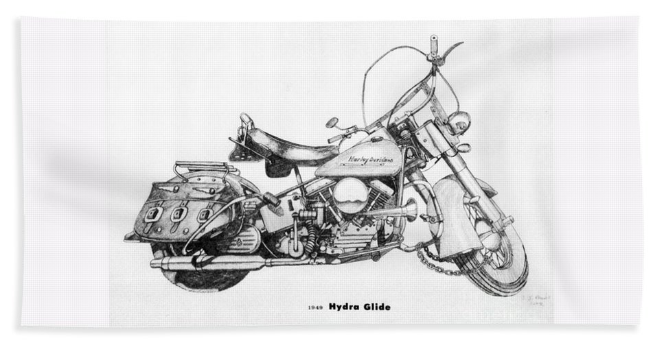 Stephen Bath Sheet featuring the drawing Hydra Glide by Stephen Brooks