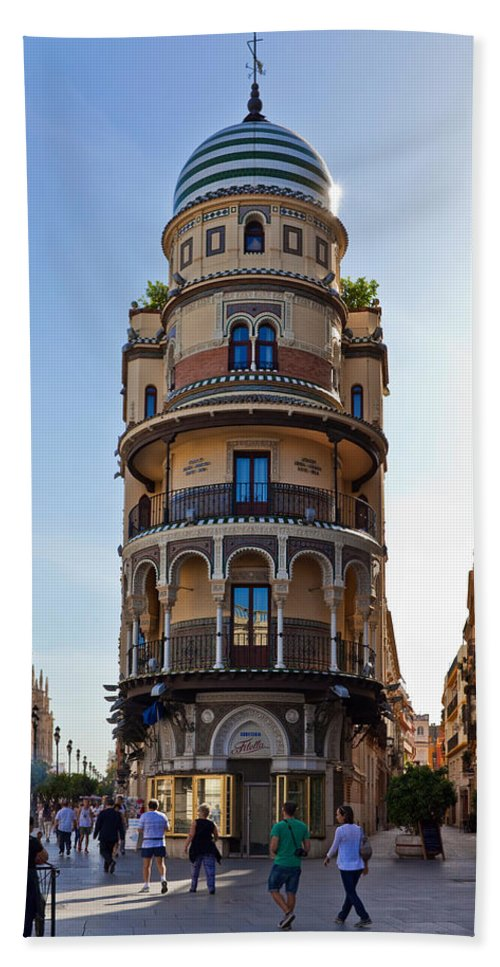 Photography Bath Sheet featuring the photograph La Adriatica Building, Seville by Panoramic Images