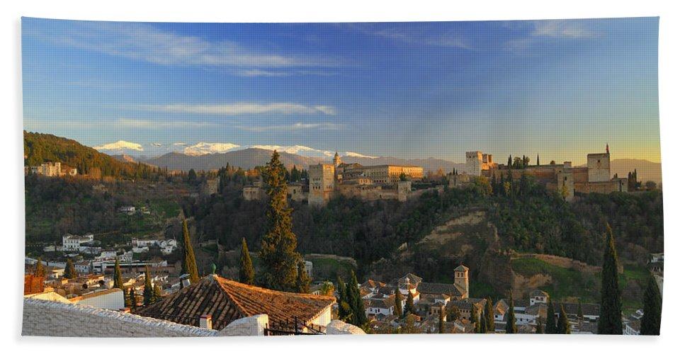 The Alhambra Bath Sheet featuring the photograph La Alhambra Granada Spain by Guido Montanes Castillo