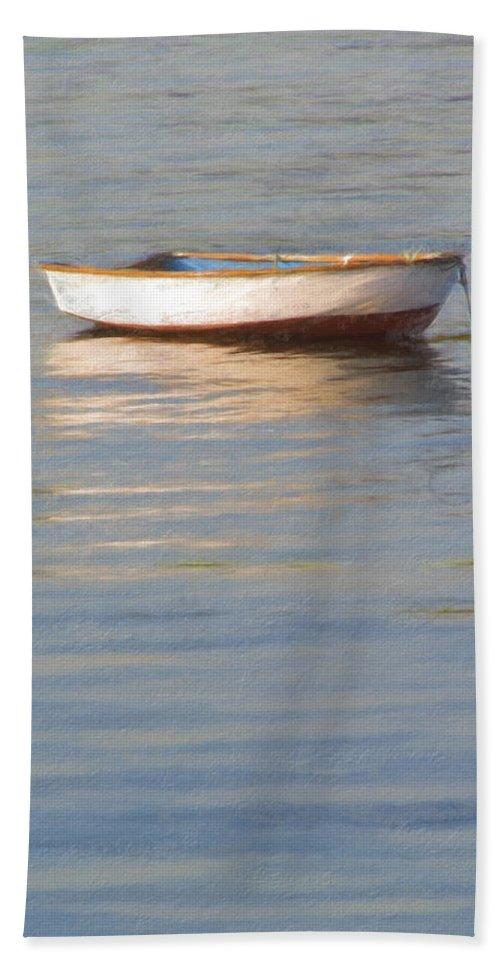 Boat Bath Sheet featuring the photograph La Barque Au Crepuscule by Jean-Pierre Ducondi