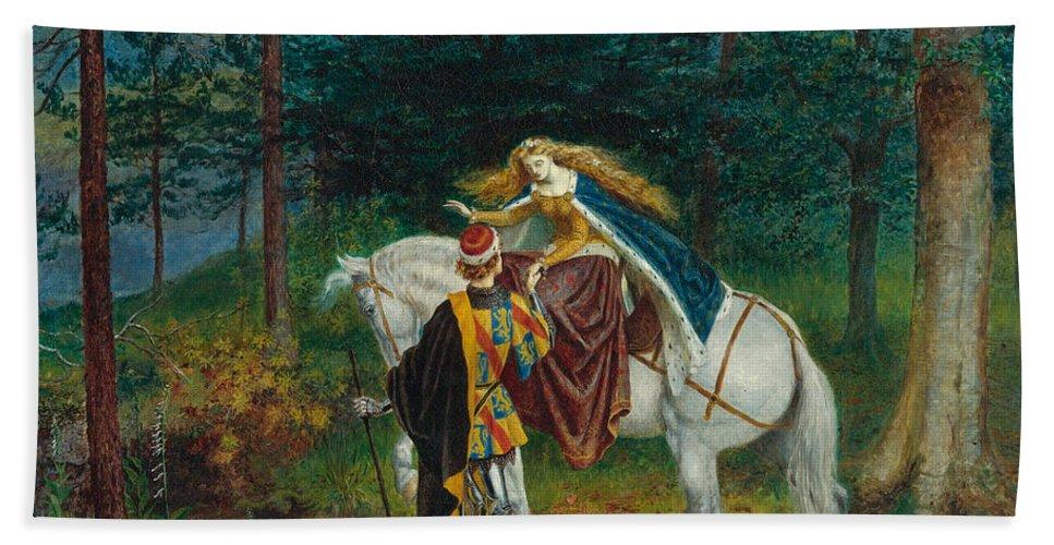 Walter Crane Hand Towel featuring the painting La Bella Dame Sans Merci by Walter Crane