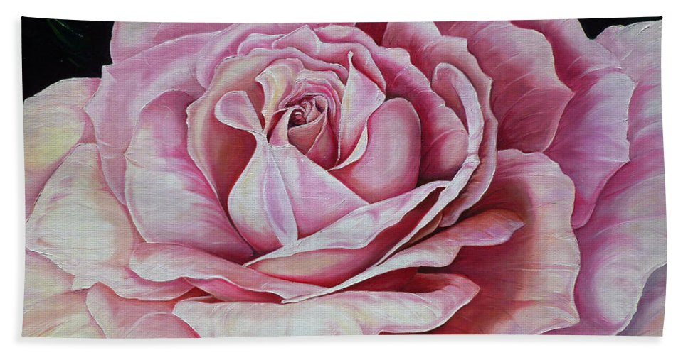 Rose Painting Pink Rose Painting  Floral Painting Flower Painting Botanical Painting Greeting Card Painting Bath Sheet featuring the painting La Bella Rosa by Karin Dawn Kelshall- Best