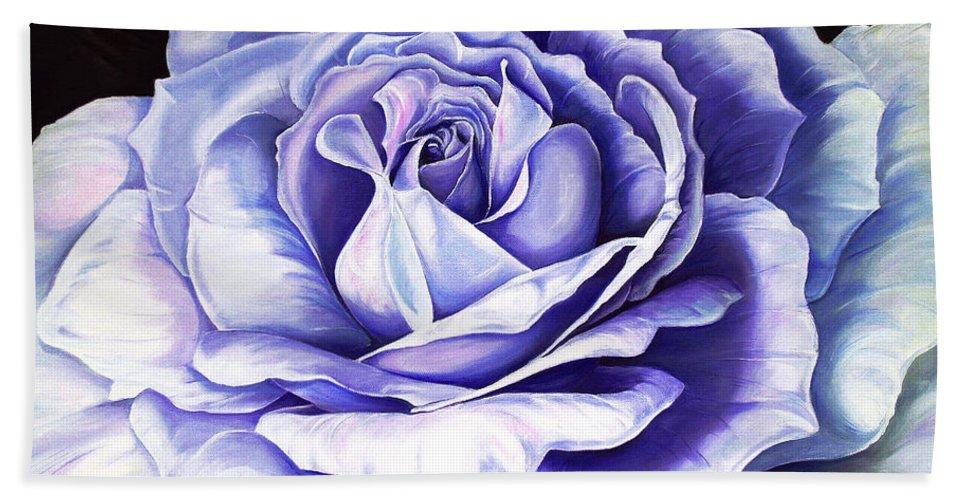 Purple Rose Bath Sheet featuring the painting La Bella Rosa Purple by Karin Dawn Kelshall- Best