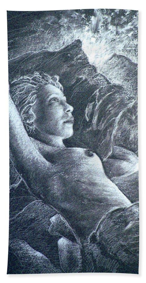 Portraits Bath Sheet featuring the painting La Belle Reveuse by Miki De Goodaboom