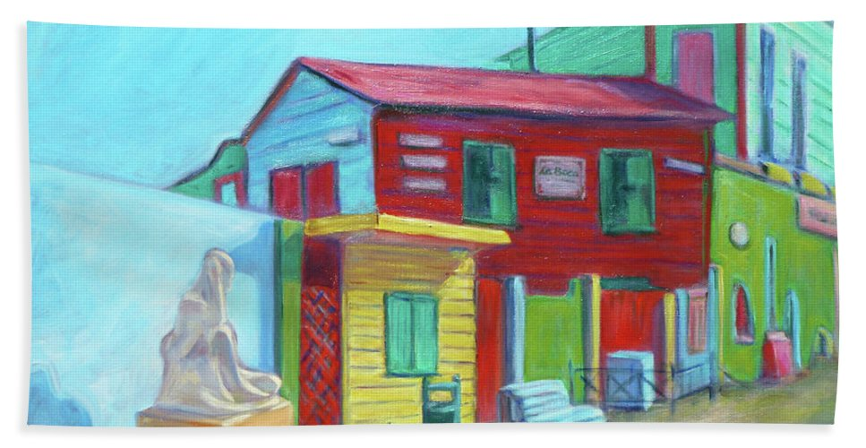 Morning Hand Towel featuring the painting La Boca Morning I by Xueling Zou
