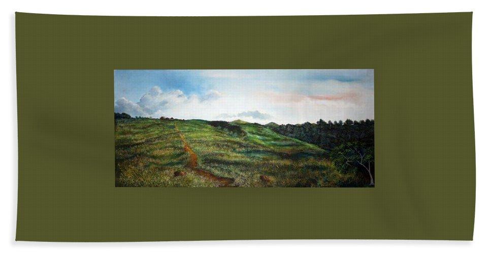 Landscape Bath Sheet featuring the painting La Bonga by Ricardo Sanchez Beitia