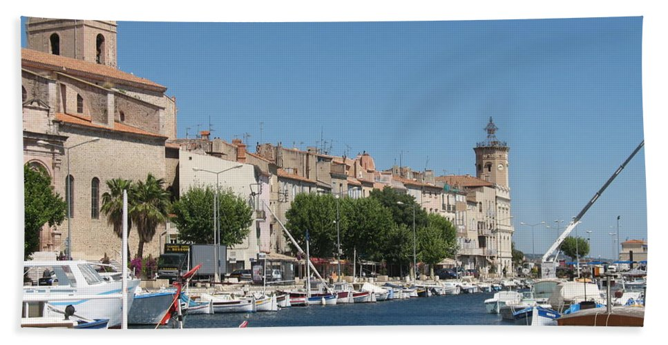 Habor Bath Sheet featuring the photograph La Ciotat Harbor by Christiane Schulze Art And Photography