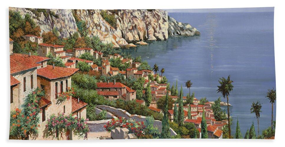 Seascape Bath Towel featuring the painting La Costa by Guido Borelli