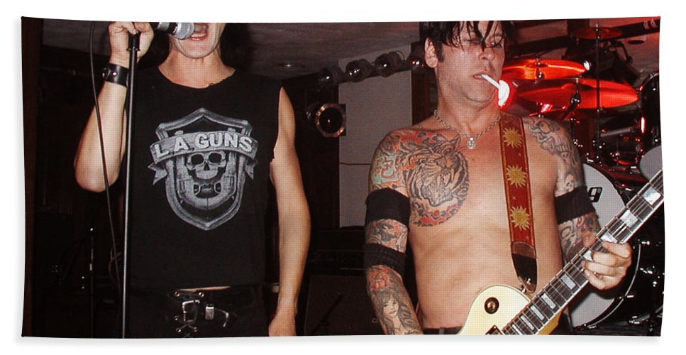 Music Bath Sheet featuring the photograph L.a. Guns Live In Lawrence 2002 I by Mike Greco