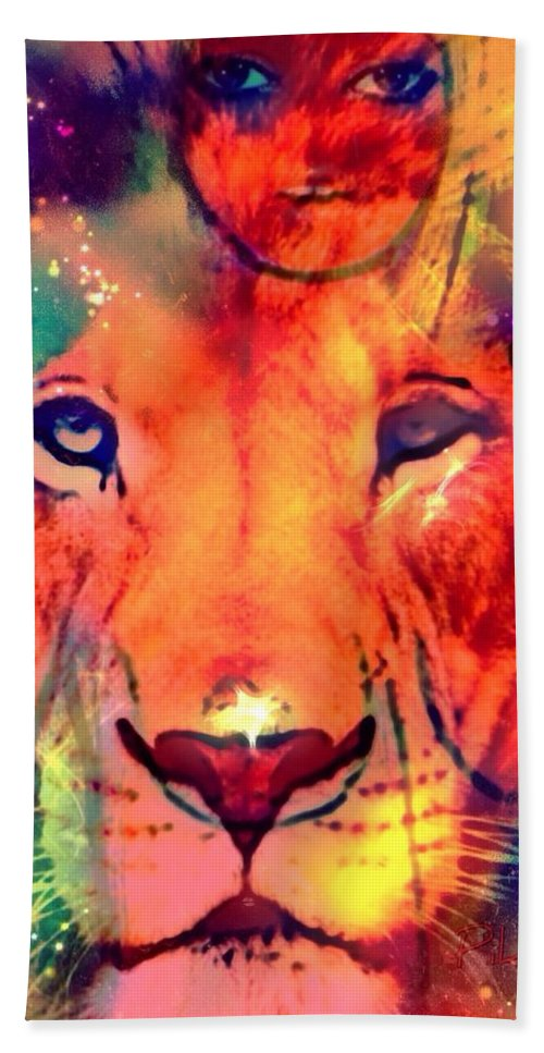 La Lionne Hand Towel featuring the digital art La Lionne by Pikotine Art