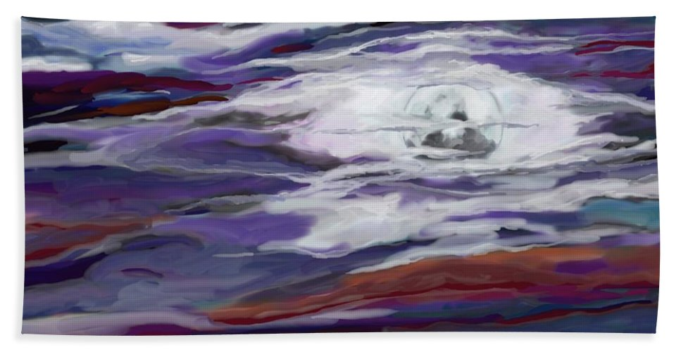 Space Hand Towel featuring the painting La Luna 2 by Jeanne Fischer