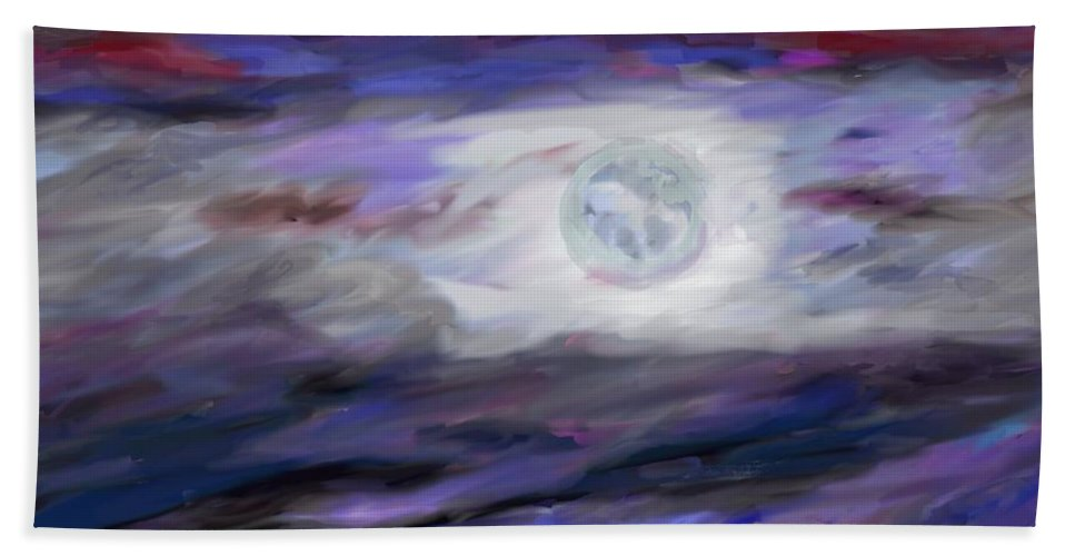 Night Hand Towel featuring the painting La Luna by Jeanne Fischer
