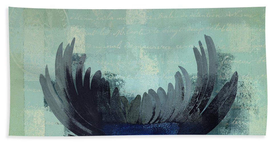 Blue Bath Sheet featuring the digital art La Marguerite - 046143067-c02g by Variance Collections