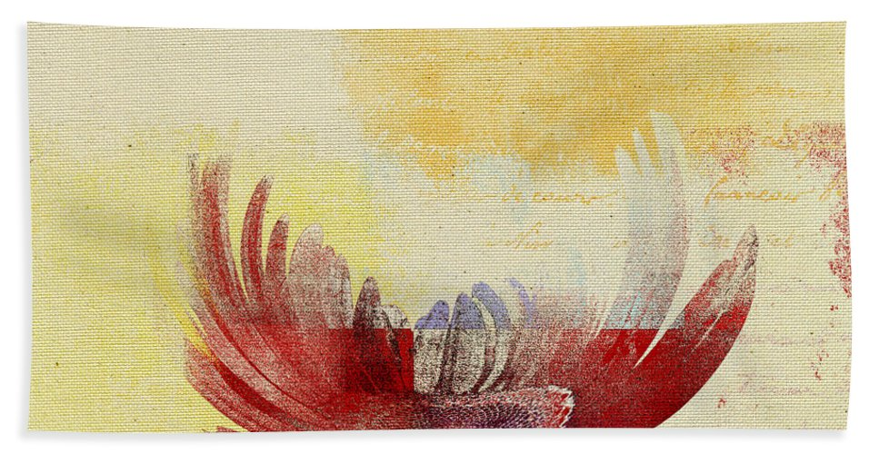Daisy Hand Towel featuring the digital art La Marguerite - 194191203-ro06tc by Variance Collections