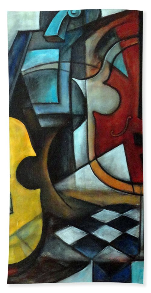 Abstract Hand Towel featuring the painting La Musique 1 by Valerie Vescovi