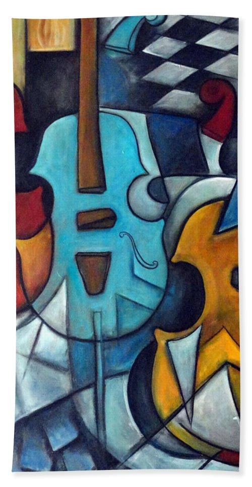 Music Bath Towel featuring the painting La Musique 2 by Valerie Vescovi