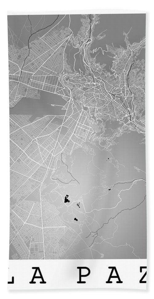 Road Map Hand Towel featuring the digital art La Paz Street Map - La Paz Bolivia Road Map Art On Colored Back by Jurq Studio