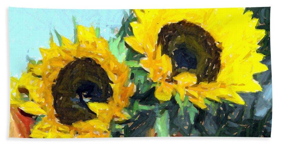 Flowers Hand Towel featuring the photograph La Peinture Impressionniste De Tournesol by Sheila Laurens